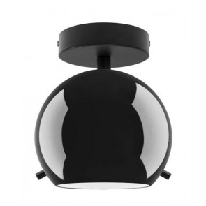 Sotto Luce Myoo Elementary CP 1/C ceiling lamp with black/opal lamp holder and black ceiling canopy