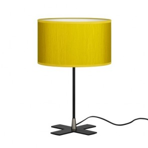 Bulb Attack Doce 1/T mustard table lamp with lampshade made of laminated fabric
