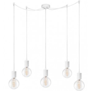 Bulb Attack Cero Basic S5 pendant lamp with white lamp holder, white textile cable and white ceiling rose