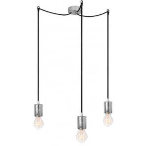 Bulb Attack CERO S3 pendant lamp with silver metal bulb holder, black power cable and silver ceiling canopy