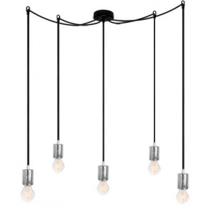 Bulb Attack CERO S5 pendant lamp with silver metal bulb holder, black power cable and black ceiling canopy