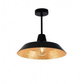 Bulb Attack Cinco Basic C1 ceiling lamp with black/gold metal shade and black hardware