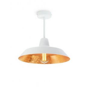 Bulb Attack Cinco Basic C1 ceiling lamp with white/gold metal shade and white hardware