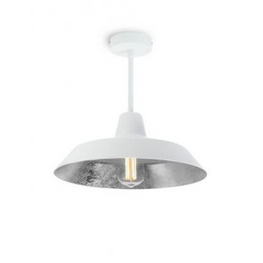 Bulb Attack Cinco Basic C1 ceiling lamp with white/silver metal shade and white hardware