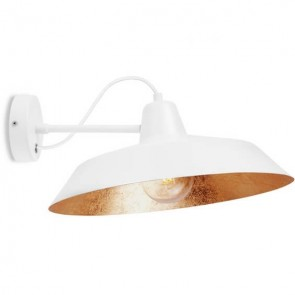 Bulb Attack Cinco Basic W1 industrial wall lamp with white and copper metal shade