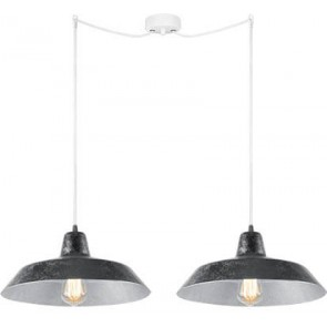 Bulb Attack Cinco S2 pendant lamp with silver shade and white power cable
