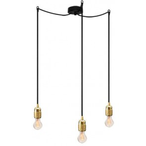 Bulb Attack Uno S3 pendant lamp with gold lamp holder, black textile cable and black ceiling rose