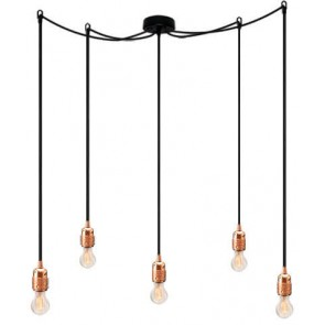 Bulb Attack Uno S5 pendant lamp with copper lamp holder, black textile cable and black ceiling rose