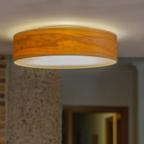 Wooden ceiling lamp Sotto Luce TSURI with natural wooden veneer shade - cherry