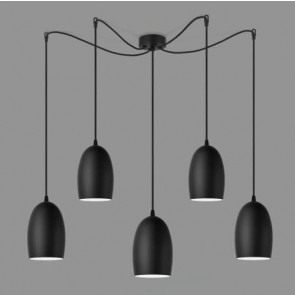 Sotto Luce UME 5/S pendant lamp with black matte glass shades
