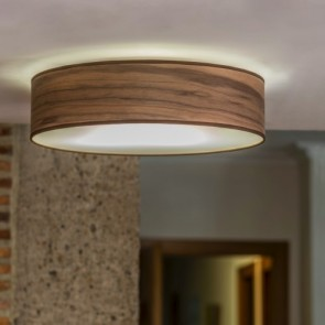 Sotto Luce TSURI ceiling lamp with natural wooden veneer shade - walnut