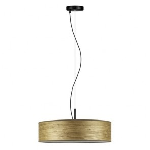Bulb Attack Ocho Slim 1/S pendant lamp with lampshade made of natural wood veneer and parchment paper diffuser - rustic oak