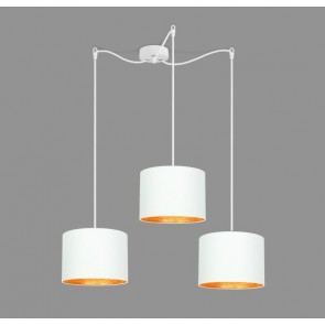 Cascade Pendant Light Bulb Attack TRES 3 with white and copper textile lamp shade, black cable and decorative ceiling canopy