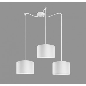 Cascade Drum Pendant Light Bulb Attack TRES 3 with white textile lamp shade, cable and decorative ceiling canopy