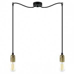 Bulb Attack Uno Basic S2 double pendant lamp with gold glossy holder and black textile power cable