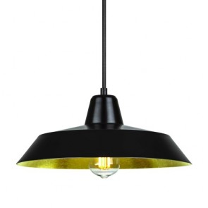 Bulb Attack Cinco S1 retro pendant lamp with black/gold leaves shade and black power cable