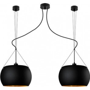 Sotto Luce MOMO Elementary 2/S ceiling lamp with black matte/gold shade