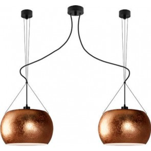 Sotto Luce MOMO Elementary 2/S ceiling lamp with copper/opal shade