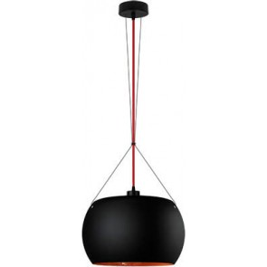 Sotto Luce MOMO Elementary 1/S pendant lamp black matte/copper with red power cable