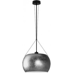 Sotto Luce MOMO Elementary 1/S pendant lamp with silver/opal glass shade