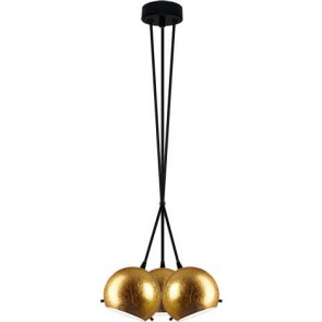 Sotto Luce MYOO Elementary 3B/S pendant lamp with gold lamp shade and black power cable