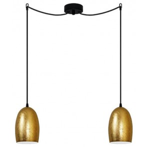 Sotto Luce UME Elementary 2/S decorative pendant lamp with gold shade and black power cable