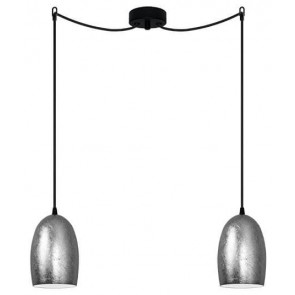 Sotto Luce UME Elementary 2/S decorative pendant lamp with silver shade and black power cable
