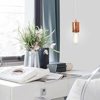 Bulb Attack Cero pendant lamp in copper leaves and white power cord