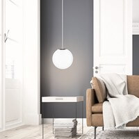 Pendant lamp Sotto Luce Tsuki with opal matt and copper shade