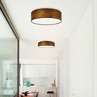 Designer ceiling lamp Sotto Luce Tsuri with walnut shade made of natural wooden veneer