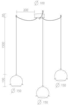 Dimensions of Sotto Luce Myoo Elementary 3/S pendant light